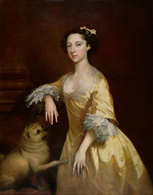 Lady With A Pug Dog Print by Joseph Highmore
