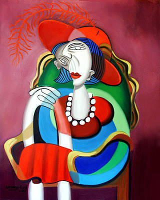 Pearl Digital Art - Lady With A Red Hat by Anthony Falbo