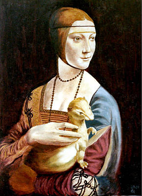 Bead Embroidery Painting - Lady With An Ermine by Henryk Gorecki