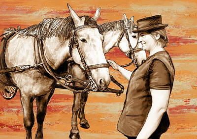 Charcoal Mixed Media - Lady With Carriage Horses - Stylised Pop Art Drawing Poster by Kim Wang