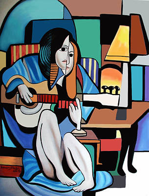 Lady With Guitar Print by Anthony Falbo