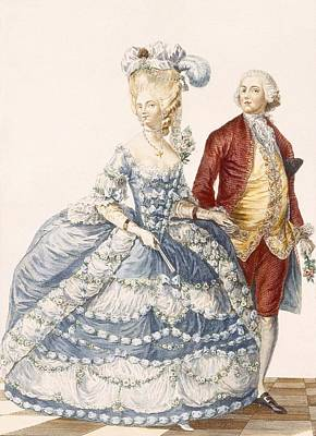 Blue Dresses Drawing - Lady With Her Husband Attending A Court by Pierre Thomas Le Clerc