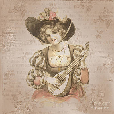 Lady With Music Roses Background Print by Art World