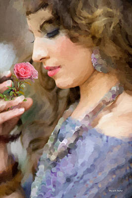 Lady With Pink Rose Print by Angela A Stanton
