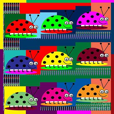 Ladybug Lady Bug Show  Kids Room  Catagory Science Biology Insects Print by Navin Joshi