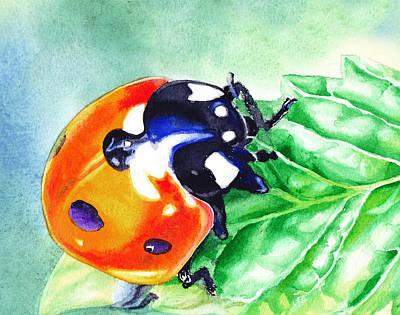 Ladybug Painting - Ladybug On The Leaf by Irina Sztukowski