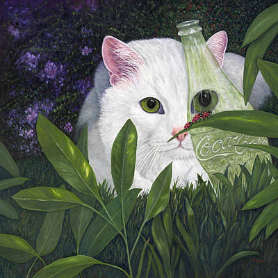 Ladybugs And Cat Original by Karen Zuk Rosenblatt
