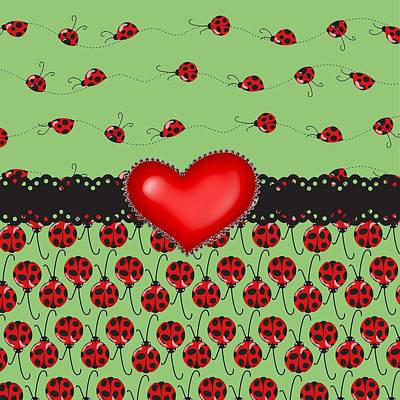 Ladybug Digital Art - Ladybugs Hearts Desires  by Debra  Miller