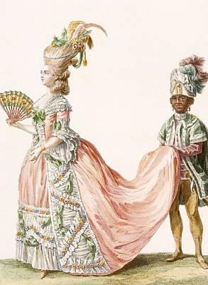 Ladys Elaborate Evening Gown, Engraved Print by Claude Louis Desrais