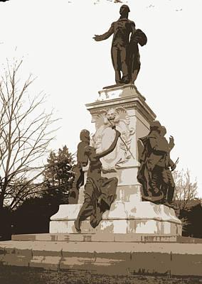 Washington D.c Drawing - Lafayette Statue, Lafayette Square, Washington by Litz Collection
