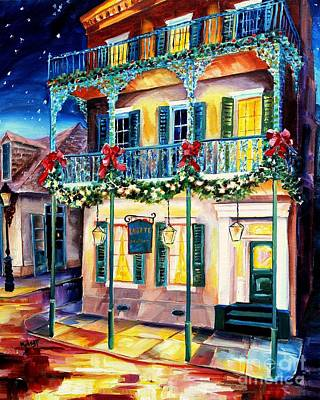Christmas Star Painting - Lafitte Guest House At Christmas by Diane Millsap