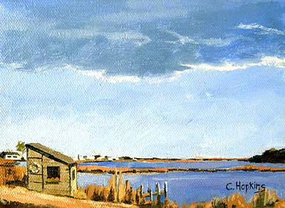Massachusetts Painting - Lagoon Pond Shucking Shack Martha's Vineyard Massachusetts by Christine Hopkins