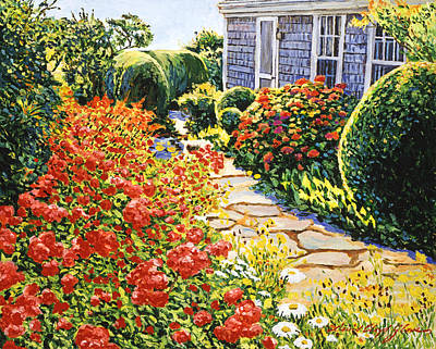 Cape Cod Painting - Laguna Beach House Garden by David Lloyd Glover