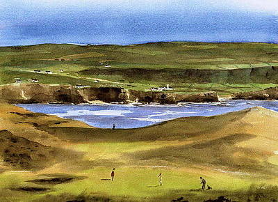 Connaught Painting - Lahinch Golf Course  Clare by Val Byrne