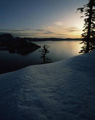 Lake At Sunset, Llao Rock, Wizard Print by Panoramic Images