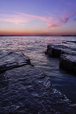 Lake Champlain Vermont Shoreline Sunset And Clouds Print by Andy Gimino