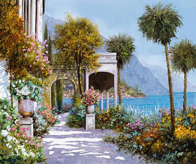 Landscapes Lakes Painting - Lake Como-la Passeggiata Al Lago by Guido Borelli