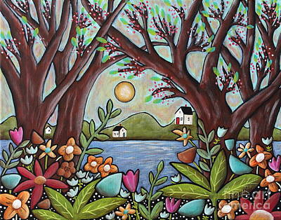 Primitive Painting - Lake Cottages by Karla Gerard