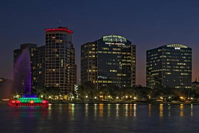 Night Photograph - Lake Eola Park Orlando Florida by Susan Candelario