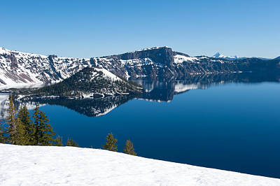 Lake In Winter, Crater Lake, Crater Print by Panoramic Images