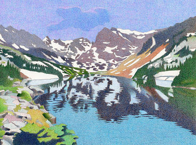 Snow Storm Drawing - Lake Isabelle Colorado by Dan Miller
