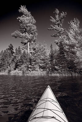 Lake Kayaking Bw Print by Steve Gadomski