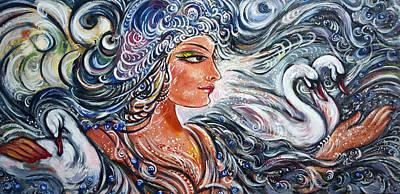 Surrealistic Painting - Lake Lady by Harsh Malik