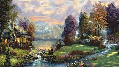 Lake Land Thomas Kinkade Look-a-like Print by Jessie J De La Portillo