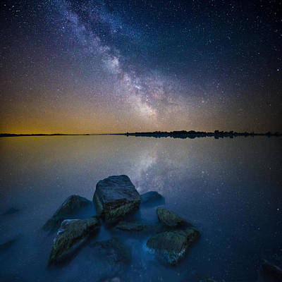 Blending Photograph - Lake Madison Milky Way by Aaron J Groen