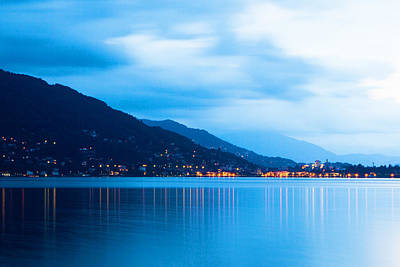 Lake Maggiore Before Sunrise Print by Susan  Schmitz