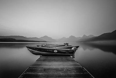 Wildfire Smoke Photograph - Black And White // Lake Mcdonald, Glacier National Park by Nicholas Parker