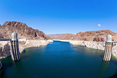Moon Photograph - Lake Mead And Hoover Dam by Alexey Stiop