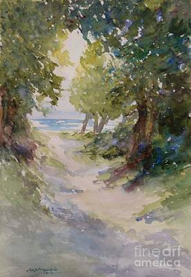 Sunlit Tree Painting - Lake Michigan Beach Path by Sandra Strohschein