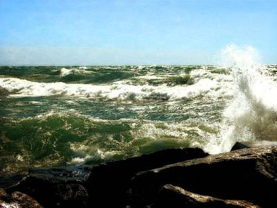 Pier Digital Art - Lake Michigan In An Angry Mood by Michelle Calkins