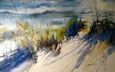 Sand Dunes Painting - Lake Michigan October by Sandra Strohschein