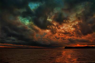 Lake Murray Fire Sky Print by Steven Richardson