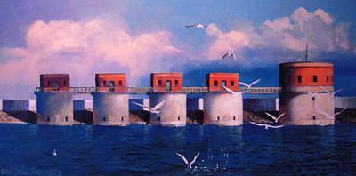 Lake Murray Towers Print by Blue Sky