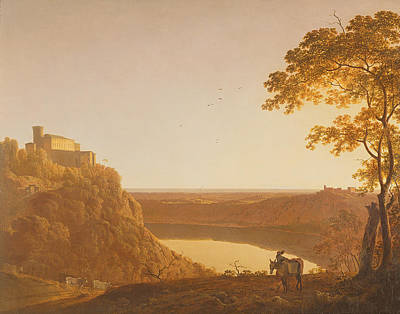 Nemo Photograph - Lake Nemi At Sunset, C.1790 Oil On Canvas by Joseph Wright of Derby