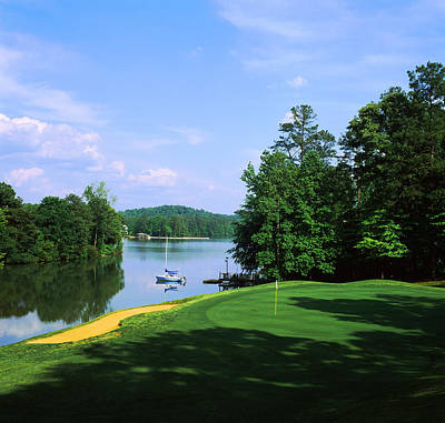 Putting Photograph - Lake On A Golf Course, Legend Course by Panoramic Images