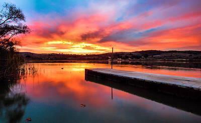 Lake Oneil Sunset Print by Robert  Aycock