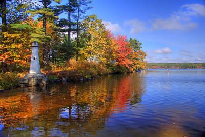 Autumn Scenes Photograph - Lake Potanipo Lighthouse by Joann Vitali