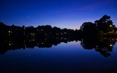 Lake Reflection At Dusk Print by Chris Flees