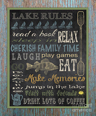 Lake Rules-relax-blue Original by Jean Plout