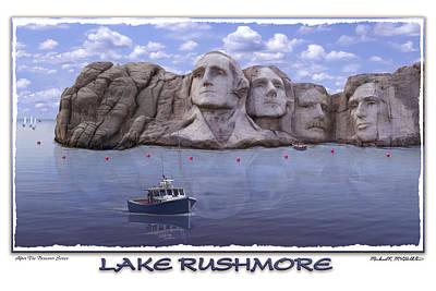 Mount Rushmore Digital Art - Lake Rushmore by Mike McGlothlen