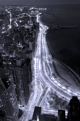 Night Photograph - Lake Shore Drive Aerial  B And  W by Steve Gadomski