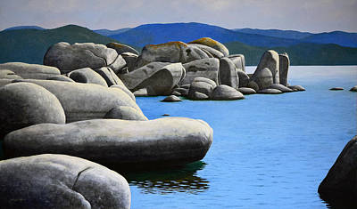 Distant Mountains Painting - Lake Tahoe Rocky Cove by Frank Wilson