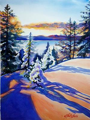 Painting - Lake Tahoe Winter Glow Sold  by Therese Fowler-Bailey