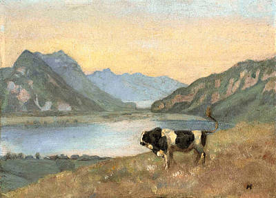 Ferdinand Hodler Painting - Lake Thun And Brienz With Freiburg Simmental Bull by Ferdinand Hodler