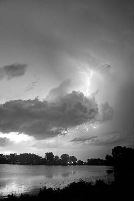 James Insogna Photograph - Lake Thunder Cell Lightning Burst Bw by James BO  Insogna