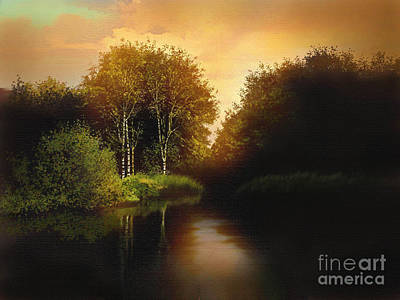 Lake Trees Print by Robert Foster